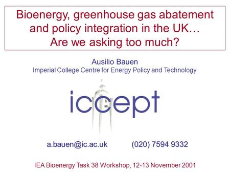 Ausilio Bauen Imperial College Centre for Energy Policy and Technology Bioenergy, greenhouse gas abatement and policy integration in the UK… Are we asking.