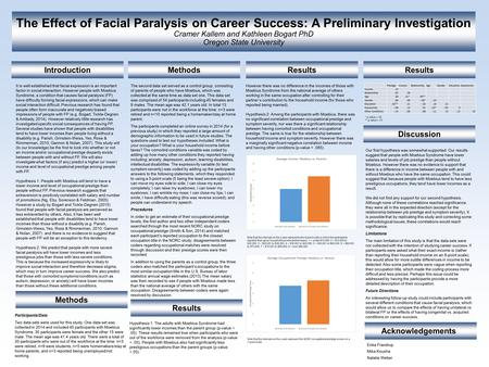 The Effect of Facial Paralysis on Career Success: A Preliminary Investigation Cramer Kallem and Kathleen Bogart PhD Oregon State University Introduction.