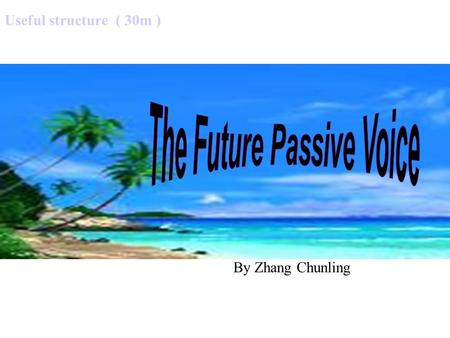 Useful structure ( 30m ) By Zhang Chunling Active and Passive Voice Voice The voice of a verb tells whether the subject of the sentence performs or receives.