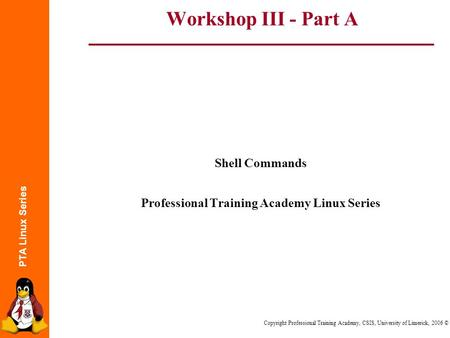 PTA Linux Series Copyright Professional Training Academy, CSIS, University of Limerick, 2006 © Workshop III - Part A Shell Commands Professional Training.