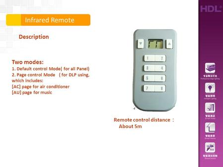 Infrared Remote Description Remote control distance : About 5m Two modes: 1. Default control Mode( for all Panel) 2. Page control Mode ( for DLP using,