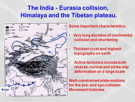 The India - Eurasia collision, Himalaya and the Tibetan plateau.