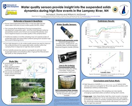 Water quality sensors provide insight into the suspended solids dynamics during high flow events in the Lamprey River, NH Nicholas K. Shonka and William.