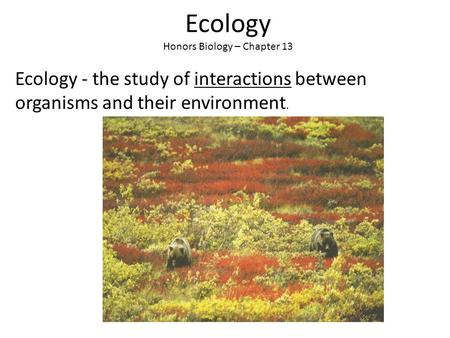 <strong>Ecology</strong> Honors Biology – Chapter 13 <strong>Ecology</strong> - the study of interactions between organisms <strong>and</strong> their <strong>environment</strong>.