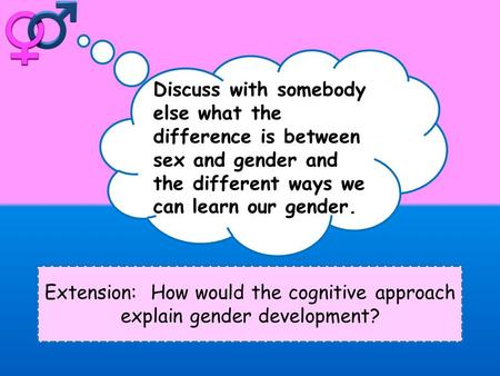 Extension: How would the cognitive approach explain gender development? Discuss with somebody else what the difference is between sex and gender and the.