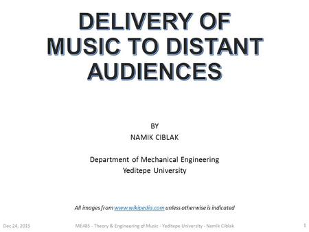 BY NAMIK CIBLAK Department of Mechanical Engineering Yeditepe University Dec 24, 2015ME485 - Theory & Engineering of Music - Yeditepe University - Namik.