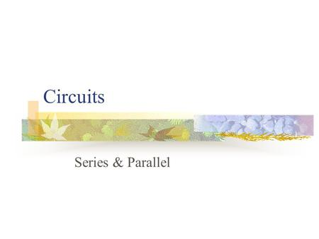 Circuits Series & Parallel. What type of circuit is this? Series Circuit-has only one path for electrons to flow.