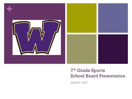 + 7 th Grade Sports School Board Presentation May 20 th, 2015.