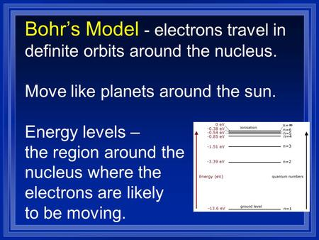 Bohr's Model - electrons travel in definite orbits around the nucleus. Move like planets around the sun. Energy levels – the region around the nucleus.