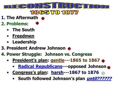 1. The Aftermath 2. Problems: The South Freedmen Leadership 3. President Andrew Johnson 4. Power Struggle: Johnson vs. Congress President's plan: gentle---1865.