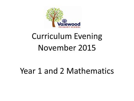 Curriculum Evening November 2015 Year 1 and 2 Mathematics.