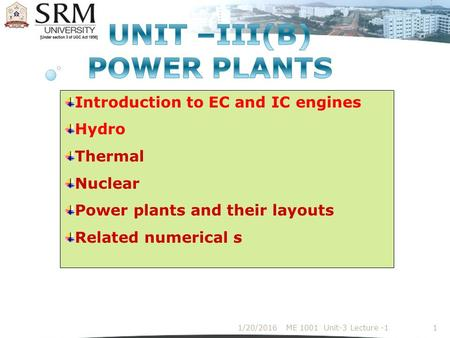 UNIT –III(B) POWER PLANTS