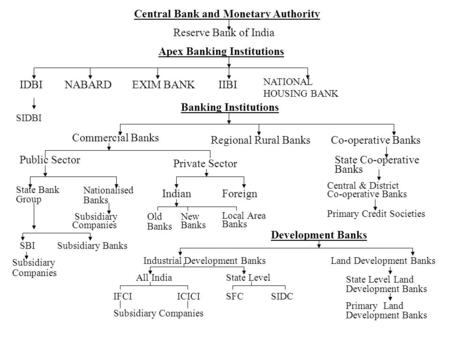 Central Bank and Monetary Authority Reserve Bank of India Apex Banking Institutions IDBINABARDEXIM BANKIIBI NATIONAL HOUSING BANK SIDBI Banking Institutions.