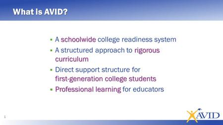 What is AVID? schoolwide  A schoolwide college readiness system rigorous curriculum  A structured approach to rigorous curriculum first-generation college.