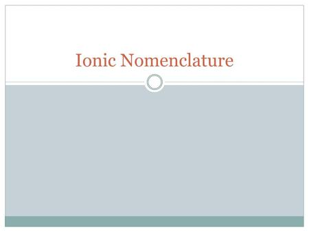 Ionic Nomenclature. What Is It? Systematic method for naming ionic compounds Monoatomic ion – one made of only a single atom Al 3+ Na + Cl - O 2- Polyatomic.