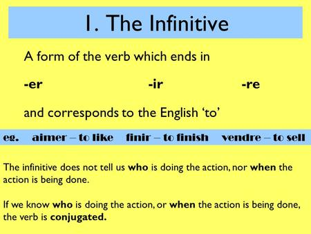1. The Infinitive A form of the verb which ends in -er-ir-re and corresponds to the English 'to' eg. aimer – to like finir – to finish vendre – to sell.
