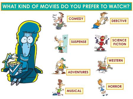 WHAT KIND OF MOVIES DO YOU PREFER TO WATCH? COMEDY DEECTIVE SUSPENSE SCIENCE FICTION ADVENTURES WESTERN MUSICAL HORROR.
