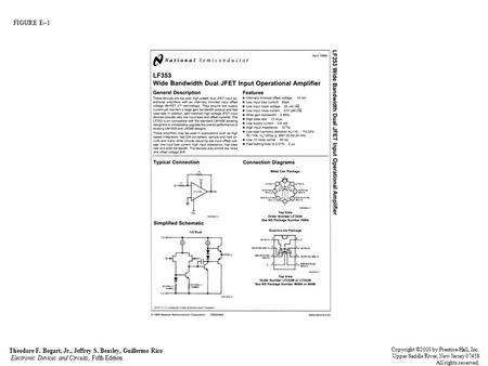 FIGURE E–1 Theodore F. Bogart, Jr., Jeffrey S. Beasley, Guillermo Rico Electronic Devices and Circuits, Fifth Edition Copyright ©2001 by Prentice-Hall,