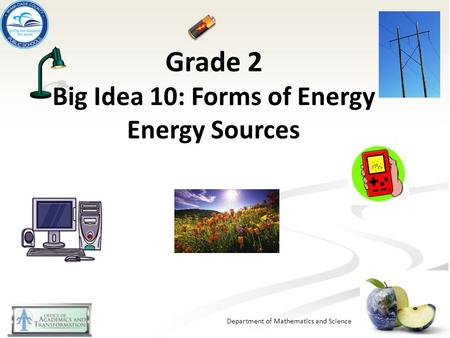 Grade 2 Big Idea 10: Forms of Energy Energy Sources