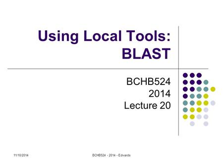 11/10/2014BCHB524 - 2014 - Edwards Using Local Tools: BLAST BCHB524 2014 Lecture 20.