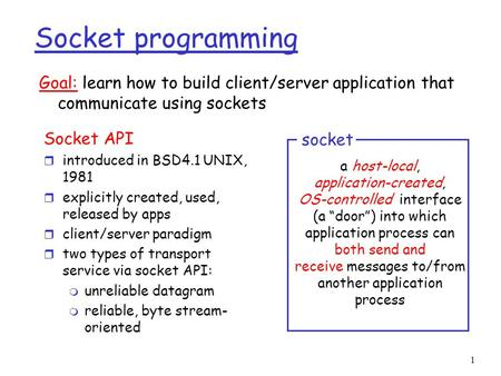 1 Socket programming Socket API r introduced in BSD4.1 UNIX, 1981 r explicitly created, used, released by apps r client/server paradigm r two types of.