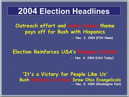 2004 Election Headlines Outreach effort and moral values theme pays off for Bush with Hispanics -- Nov. 3, 2004 [FOX News] Election Reinforces USA's Religious.
