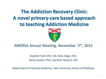 AMERSA Annual Meeting, November 5 th, 2015 Stephen Holt, MD, MS, Nora Segar, MD, Dana Cavallo, PhD, Jeanette Tetrault, MD Department of Internal Medicine,
