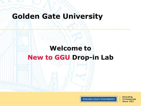 Golden Gate University Welcome to New to GGU Drop-in Lab.