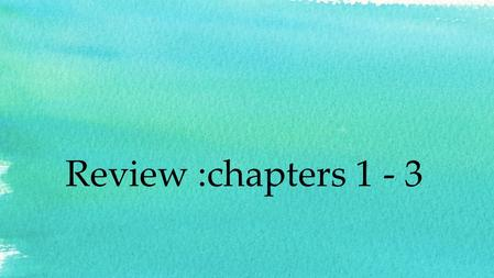 Review :chapters 1 - 3. What is an algorithm? A step by step description of how to accomplish a task. For example, Adding 3 numbers N1, N2 and N3 Add.