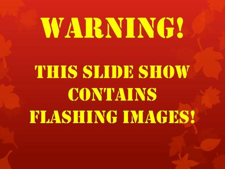 WARNING! THIS SLIDE SHOW CONTAINS FLASHING IMAGES!