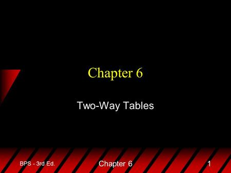 BPS - 3rd Ed. Chapter 61 Two-Way Tables. BPS - 3rd Ed. Chapter 62 u In prior chapters we studied the relationship between two quantitative variables with.