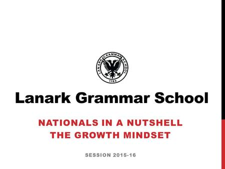 Lanark Grammar School NATIONALS IN A NUTSHELL THE GROWTH MINDSET SESSION 2015-16.