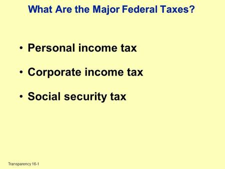 Transparency 16-1 What Are the Major Federal Taxes? Personal income tax Corporate income tax Social security tax.