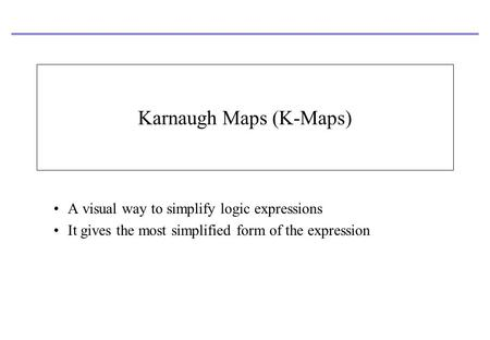 Karnaugh Maps (K-Maps) A visual way to simplify logic expressions It gives the most simplified form of the expression.