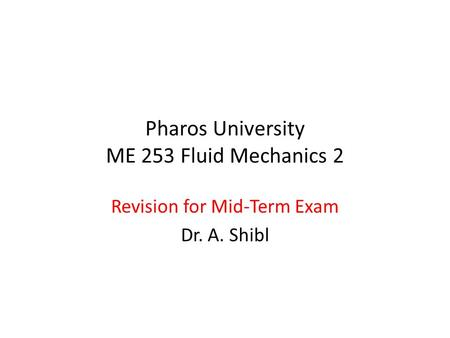 Pharos University ME 253 Fluid Mechanics 2