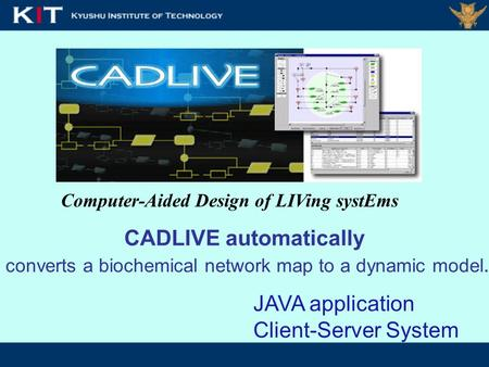 Computer-Aided Design of LIVing systEms CADLIVE automatically converts a biochemical network map to a dynamic model. JAVA application Client-Server System.
