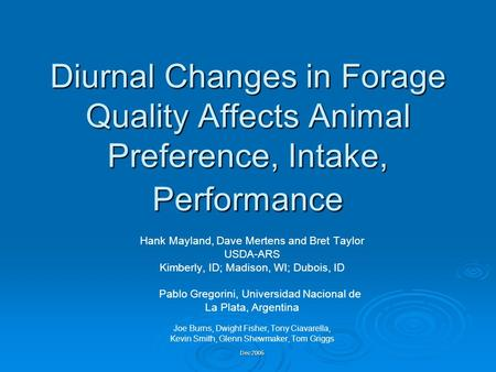 Diurnal Changes in Forage Quality Affects Animal Preference, Intake, Performance Hank Mayland, Dave Mertens and Bret Taylor USDA-ARS Kimberly, ID; Madison,