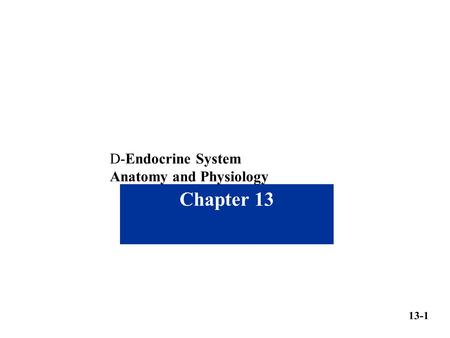 Chapter 13 13-1 D-Endocrine System Anatomy and Physiology.