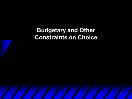 1 Budgetary and Other Constraints on Choice. 2 Consumption Choice Sets u A consumption choice set is the collection of all consumption choices available.