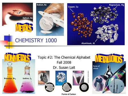 CHEMISTRY 1000 Topic #2: The Chemical Alphabet Fall 2008 Dr. Susan Lait Gallium, Ga Sodium, Na Forms of Carbon.