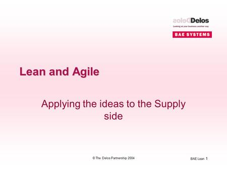 BAE Lean 1 © The Delos Partnership 2004 Lean and Agile Applying the ideas to the Supply side.