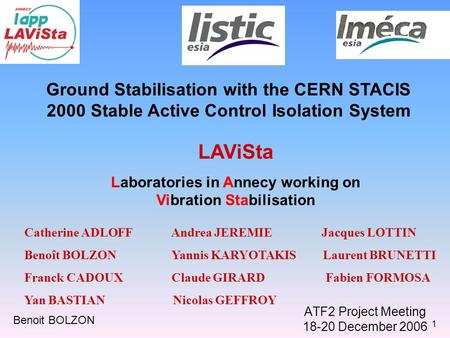 1 ATF2 Project Meeting 18-20 December 2006 Ground Stabilisation with the CERN STACIS 2000 Stable Active Control Isolation System LAViSta Laboratories in.