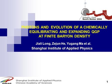 PHOTONS AND EVOLUTION OF A CHEMICALLY EQUILIBRATING AND EXPANDING QGP AT FINITE BARYON DENSITY Shanghai Institute of Applied Physics Jiali Long, Zejun.