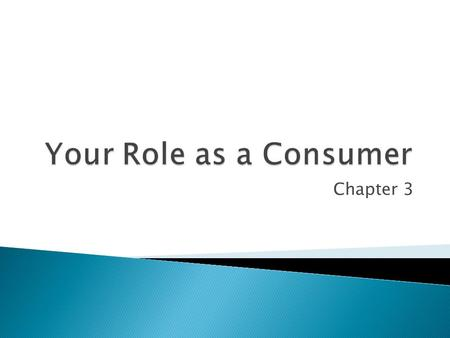Chapter 3.  I can understand the important role consumers play in the economy and can describe how consumers make decisions.