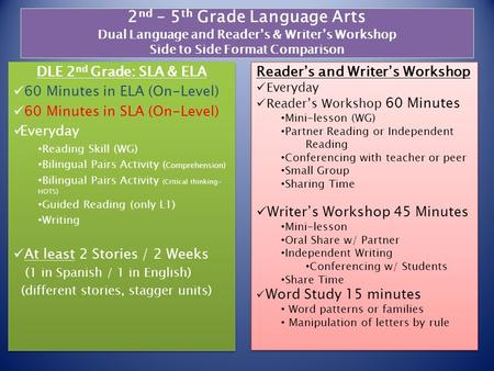 2 nd – 5 th Grade Language Arts Dual Language and Reader's & Writer's Workshop Side to Side Format Comparison DLE 2 nd Grade: SLA & ELA 60 Minutes in ELA.