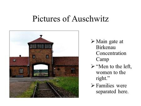 "Pictures of Auschwitz  Main gate at Birkenau Concentration Camp  ""Men to the left, women to the right.""  Families were separated here."