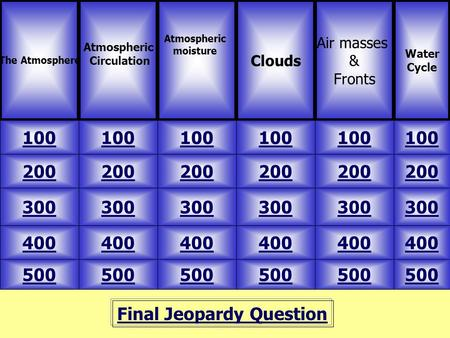 Final Jeopardy Question The Atmosphere Atmospheric Circulation 500 Water Cycle Clouds Air masses & Fronts 100 200 300 400 500 400 300 200 100 200 300 400.
