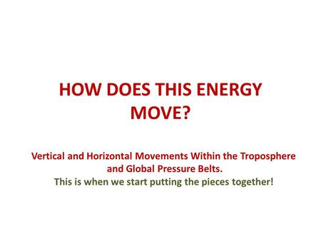 HOW DOES THIS ENERGY MOVE? Vertical and Horizontal Movements Within the Troposphere and Global Pressure Belts. This is when we start putting the pieces.