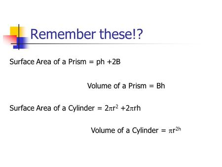 Remember these!? Surface Area of a Prism = ph +2B