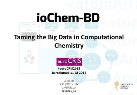 Taming the Big Data in Computational Chemistry #euroCRIS2015 Barcelona 9-11-XI-2015 Carles Bo ICIQ (BIST) -